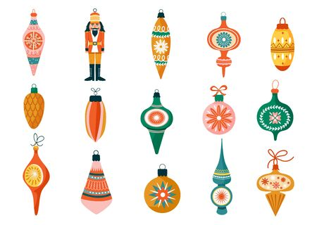 Christmas set of various tree decorations. Nutcracker and ball toy. Winter Holidays collection for postcard, banner, invitation, wrapping paper etc. Vector illustration.