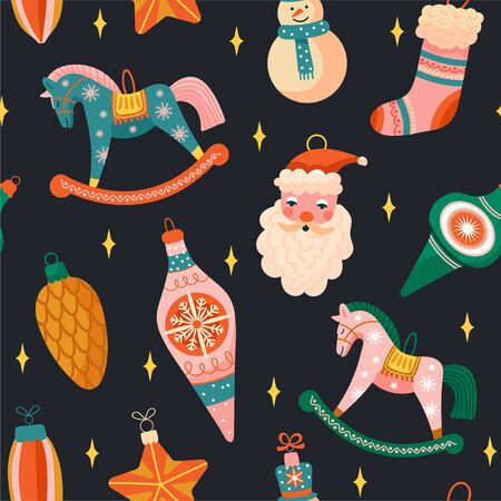 Merry Christmas and Happy New Year background. Seamless pattern with various tree decorations. Rocking horse, snowman, Santa Claus, pine cone, star and ball toy. Texture for textile, postcard, wrapping paper, packaging etc. Vector illustration on black background. Illustration