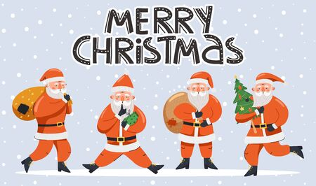 Merry Christmas and Happy New Year illustration. Funny happy Santa Claus characters in different poses and stylish lettering. Design for postcard, invitation, poster etc. Vector. 矢量图像