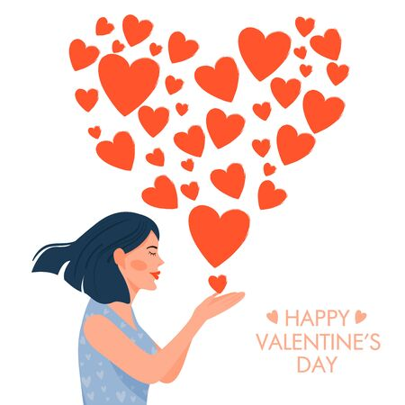 Valentine's day card with happy lady. Cute girl in love blowing kiss in the shape of a heart. Vector illustration on white background.