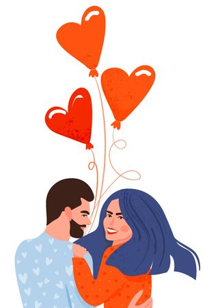 Valentines day card with happy couple. Cute woman and her boyfriend with balloons in the shape of a heart. Vector illustration on white background.