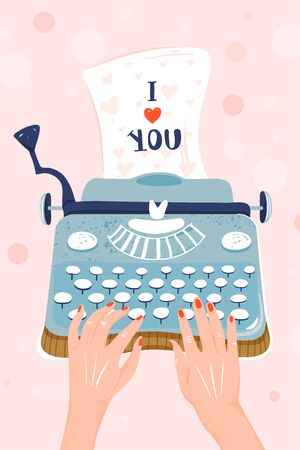 "Valentine's day greeting card. Typewriter with sheet of paper and inscription ""I love You"". Hands writing on a typewriter. Vector illustration."