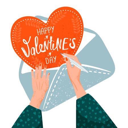 Valentijnsdag wenskaart. Vrouw die een valentijnskaartkaart maakt. Illustratie met vrouwenhanden, envelop en kaart. Vectorillustratie op witte achtergrond. Vector Illustratie