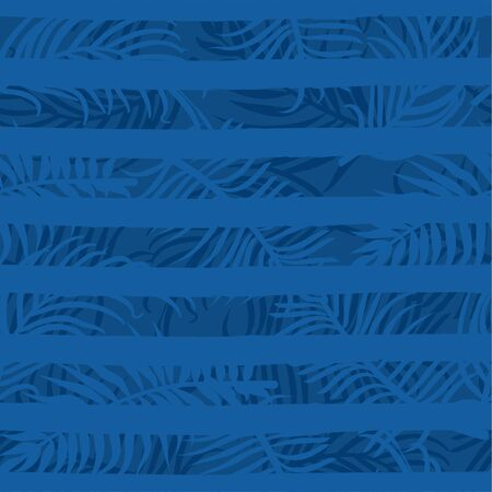 Classical blue color seamless pattern with stripe and palm leaves. Color of the year 2020. Texture for textile, packaging, wrapping paper etc. Vector illustration.