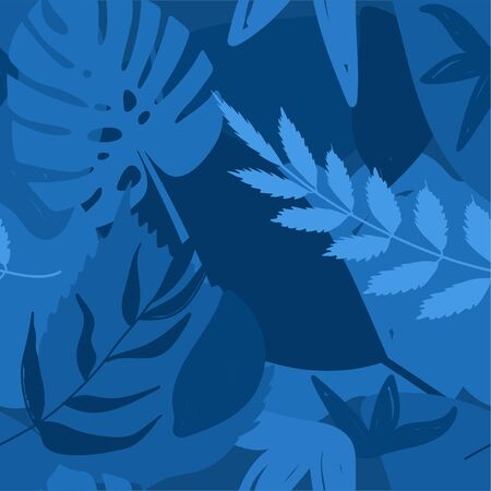 Classical blue color seamless pattern with abstract elements and leaves. Color of the year 2020. Texture for textile, packaging, wrapping paper etc. Vector illustration.