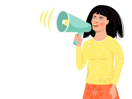 Cute girl making announcement through a megaphone. Vector illustration on white background.