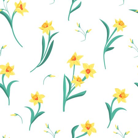 Seamless pattern of yellow narcissus with green leaves. Ilustrace