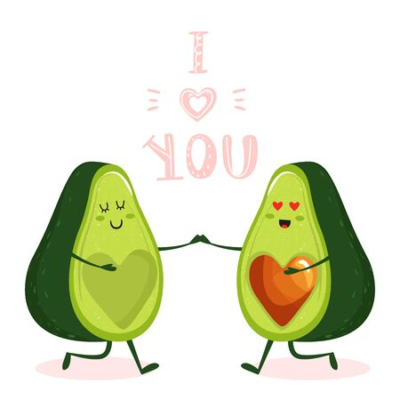 Cartoon cute avocado couple character with heart and trendy lettering. Stylish typography slogan design I love you sign. Design for t shirts, stickers, posters, cards etc. Vector illustration on white background.
