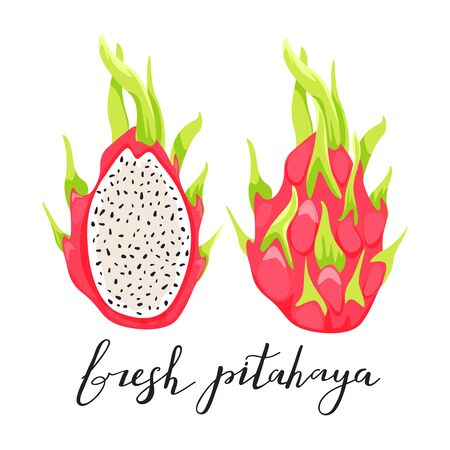 Dragon fruit or pitahaya with trendy lettering. Healthy eating. Exotic tropical fruit. Vector illustration on white background.