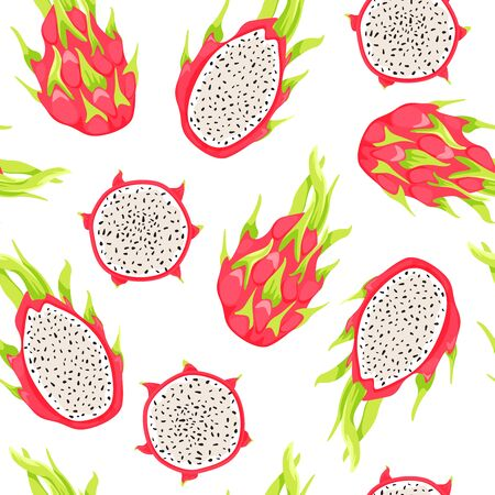 Seamless tropical pattern with dragon fruits and pitahaya slices. Healthy eating. Vector texture for textile, postcard, wrapping paper, packaging etc. Vector illustration on white background.