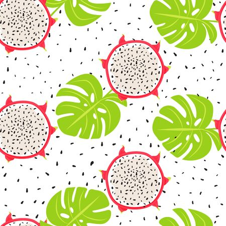 Contemporary seamless tropical pattern with dragon fruits slices and monstera leaves. Creative floral collage. Vector texture for textile, postcard, wrapping paper, packaging etc. Vector illustration on white background. Illustration