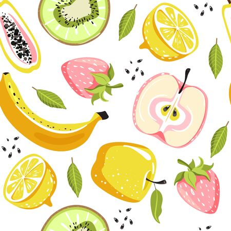 Modern seamless tropical pattern with strawberry, kiwi, apple, papaya, lemon, banana, leaves and seeds. Texture for textile, postcard, wrapping paper, packaging etc. Vector illustration on white background. Illustration
