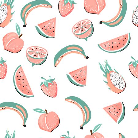 Modern seamless tropical pattern with dragon fruit, peach, watermelon, lemon, banana and strawberry. Creative childish texture for textile, postcard, wrapping paper, packaging etc. Vector illustration on white background. Illustration