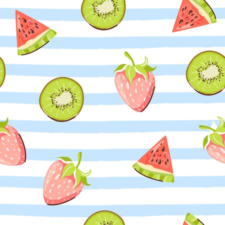 Modern seamless tropical pattern with kiwi, watermelon and strawberry. Texture for textile, postcard, wrapping paper, packaging etc. Vector illustration on striped blue background.