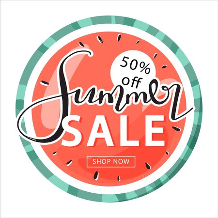 Summer sale promotion banner template. Creative lettering and sweet watermelon for seasonal sales. Vector illustration for discount offer.