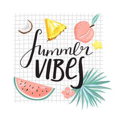 "Stylish typography slogan design ""Summer vibes"" sign. Pineapple, watermelon, peach, coconut and lettering. Design for t shirts, stickers, posters, cards etc. Vector illustration on white background."