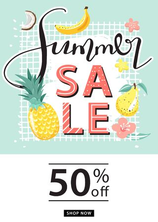 Summer sale promotion poster template. Creative lettering and tropical fruits for seasonal sales. Vector illustration for discount offer.