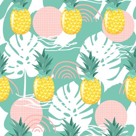Modern seamless tropical pattern with pineapple and abstract elements. Creative contemporary floral collage. Texture for textile, postcard, wrapping paper, packaging etc. Vector illustration.