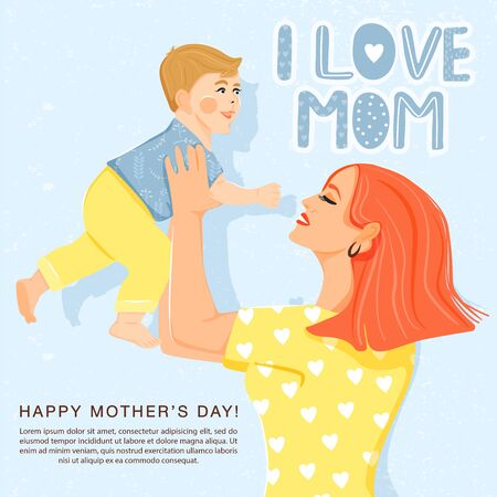 Happy mother's day greeting card. Beautiful mother with her son and stylish lettering. Mom holds child in her arms. Typography slogan