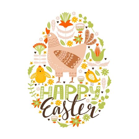Happy Easter greeting card with hen, chicken, flowers, leaves and lettering. Egg shape composition with floral elements. Vector illustration for card, invitation, poster, flyer etc.