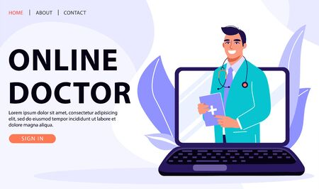 Online Medicine Concept. Medical consultation, telemedicine, diagnosis concept. Professional doctor on laptop computer screen. Healthcare vector web page banner illustration. Vektorgrafik