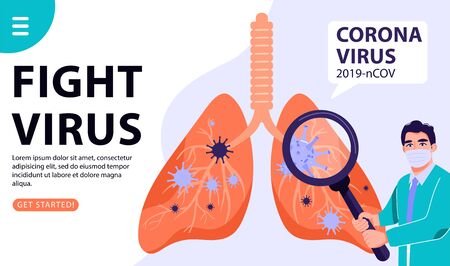 2019-nCoV Coronavirus spread of the virus. Doctor with magnifier detects lung virus and treating the lungs infected by coronavirus. Healthcare vector landing page, website and banner illustration.