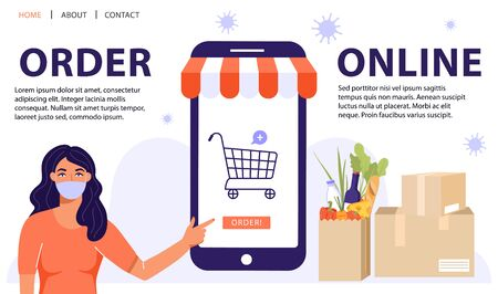 Order online concept. Woman informing people about online shopping used a retail app on a smartphone. Online order during quarantine. Vector web page banner illustration. Ilustração