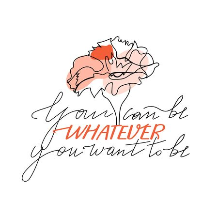 Trendy abstract one line flower with pastel shapes and lettering. Fashion typography slogan design