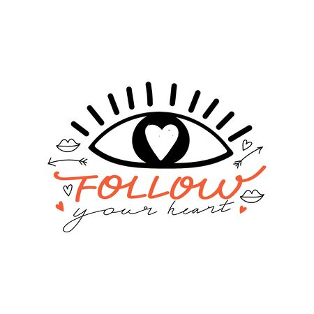 Trendy eyes in love with heart and lettering. Valentine's day greeting card. Romantic typography slogan design