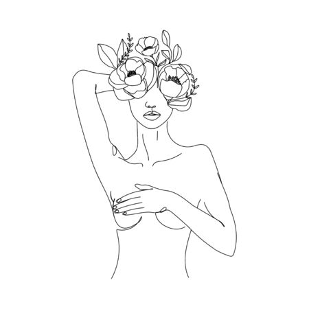 Trendy abstract one line woman body with flowers and leaves. Girl covering her breast. Continuous line print for textile, poster, card, t-shirt etc. Vector fashion illustration.