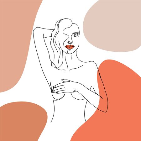 Contemporary design collage with one line woman body and abstract shapes. Fashion terracotta aesthetic card for textile, poster, card, cover, t-shirt etc. Vector illustration.
