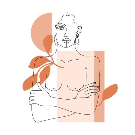 Trendy one line woman body with abstract geometric shapes. Girl crossing arms on her chest. Elegant continuous line print for textile, poster, card, t-shirt etc. Vector fashion illustration. Illustration