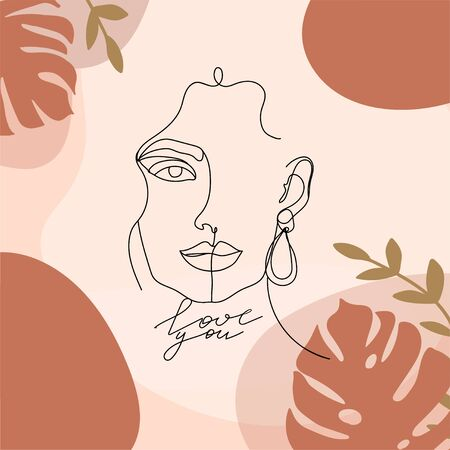 Contemporary design collage with one line woman face, tropical leaves, calligraphy phrase and abstract shapes. Terracotta aesthetic card for textile, poster, card, cover, t-shirt etc. Vector illustration.