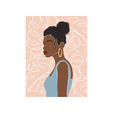 Contemporary fashion collage with abstract African woman portrait and monstera leaf background. Trendy illustration in minimalistic style. Vector print poster, card, invitation, t-shirt etc. Vettoriali