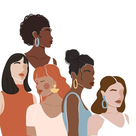 Abstract woman portrait different nationalities and culture. Girl power, struggle for equality, feminism, sisterhood concept. Vector illustration.