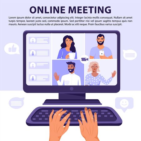 Video conference or online meeting concept. Team of people on computer screen having conversation. Hands typing on keyboard. Video chat. Vector banner illustration. Ilustração
