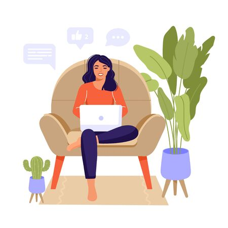 Work at home or remote work illustration design. Freelance woman sitting in chair and working on laptop. Social network and online chatting. Comfortable conditions for job. Living room interior. Vector.