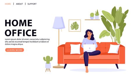 Work at home or remote work concept design. Freelance woman sitting on sofa and working on laptop. Comfortable conditions for job. Vector web page banner illustration.