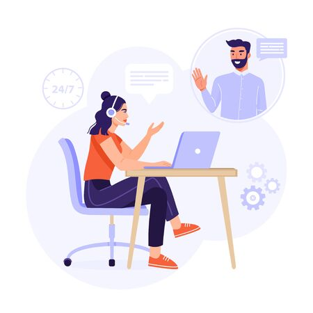 Customer service, online assistant or call center concept. Woman operator with headset consulting a client. Online technical support 24/7. Vector business illustration for presentation, poster, social media etc.