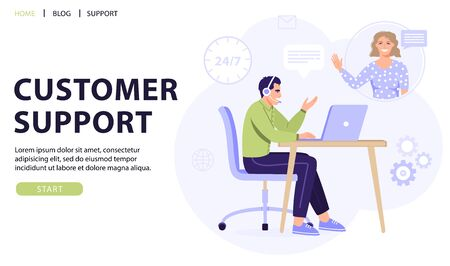 Customer service, online assistant or call center concept. Man operator with headset consulting a client. Online technical support 24/7. Vector web page banner illustration.