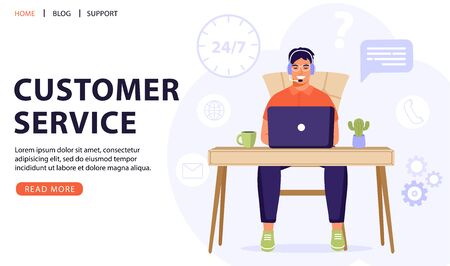 Customer service, online assistant or call center concept. Man operator with headset talking with client. Online technical support 24/7. Vector web page banner illustration. Vettoriali