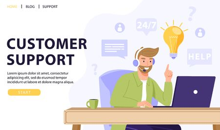 Customer service, online assistant or call center concept. Man operator with headset talking with client and have solution or idea. Online technical support 24/7. Vector web page banner illustration.