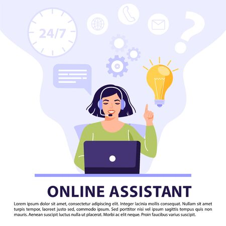 Customer service, online assistant or call center concept. Woman operator with headset talking with client and have solution or idea. Online technical support 24/7. Vector banner illustration. Vettoriali