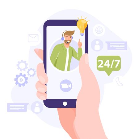 Online assistant concept. Hand holding a smartphone and search answer your question. Man operator on phone screen have solution or idea. Vector illustration on white background.