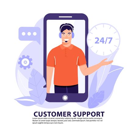 Online assistant or customer support concept. Man operator on phone screen with headset talking with client. Vector banner illustration.