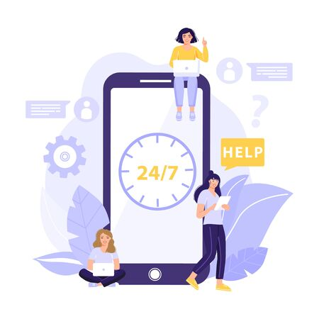 Customer support concept. People with big smart phone using online assistant application. Intellectual technology. Vector illustration with icons of social networks. Vectores