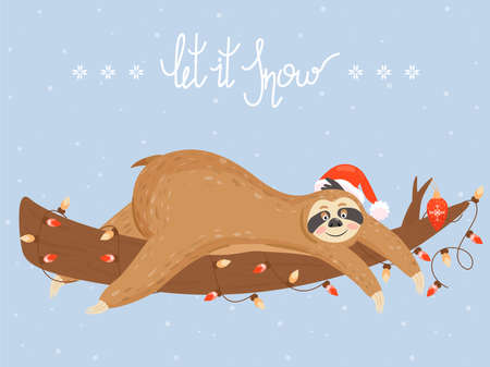 Christmas and Happy New Year card with sloth. Cute lazy sloth lying on a branch. Vector illustration. Illustration