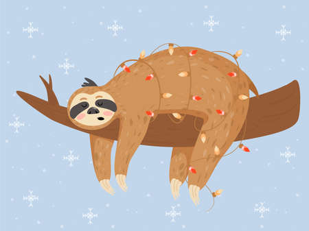 Christmas and Happy New Year card with sloth. Cute lazy sloth sleeping on a branch. Vector illustration. Illustration