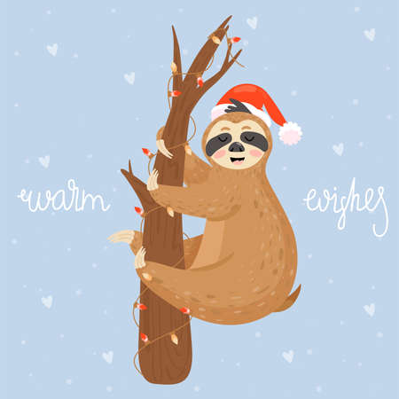 Christmas and Happy New Year card with sloth. Cute lazy sloth hanging on a branch.