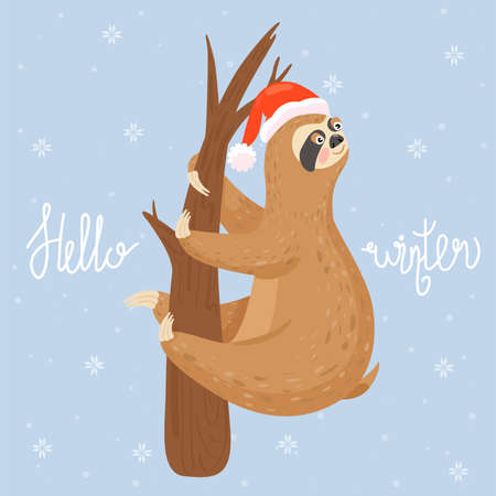 Christmas and Happy New Year card with sloth. Cute lazy sloth hanging on a branch. Hello winter postcard. Vector illustration. Illustration